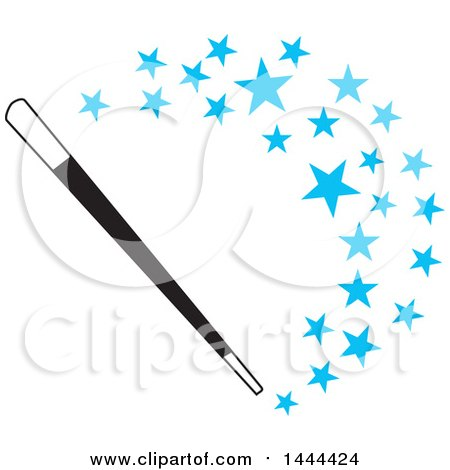 450x470 Clipart Of A Magic Wand With A Curve Of Blue Stars