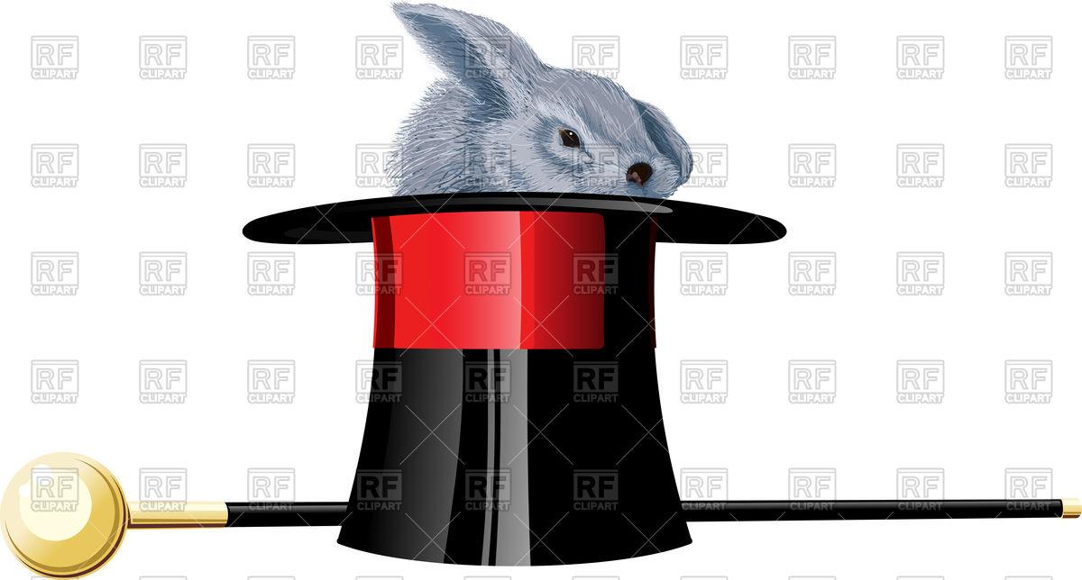 1200x644 Grey Rabbit In Black Magic Hat And Walking Stick On White