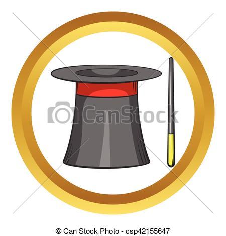 450x470 Magic Hat Wand Vector Icon, Cartoon Style. Magic Hat