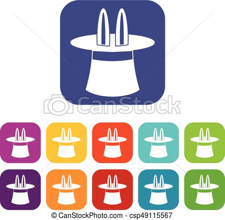 450x441 Rabbit Ears Appearing From A Top Magic Hat Icons Set Vector