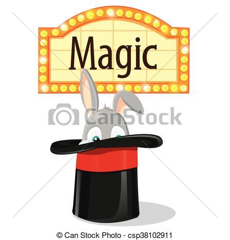 450x470 Rabbit In A Magic Hat Vector Clip Art