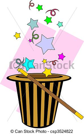 295x470 Illustration Of Magic Hat And Stick With Magic Design Clip Art