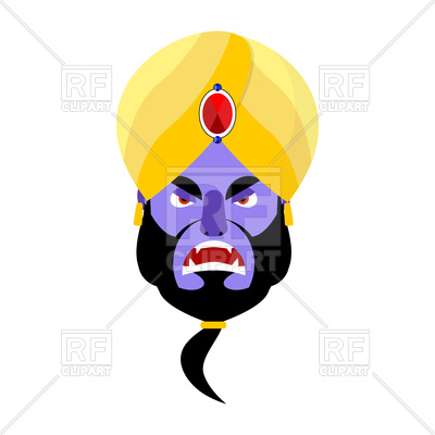 400x400 Angry Genie Head On White Background Royalty Free Vector Clip Art