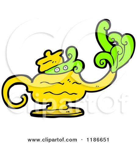 450x470 Cartoon Of A Magic Lamp With Genie