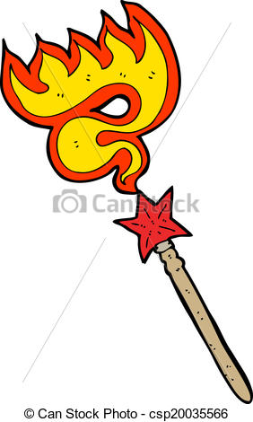 282x470 Cartoon Magic Wand Casting Fire Spell Clip Art Vector