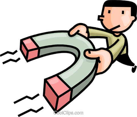 480x410 Man With A Magnet Royalty Free Vector Clip Art Illustration
