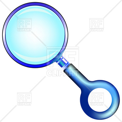 400x400 Blue Magnifying Glass With Round Handle Royalty Free Vector Clip