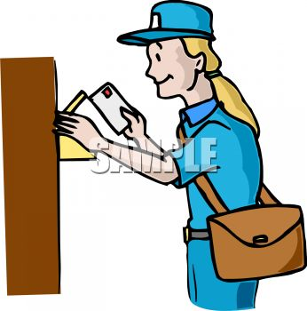 346x350 Mail Carrier Putting Letters In A Mailbox