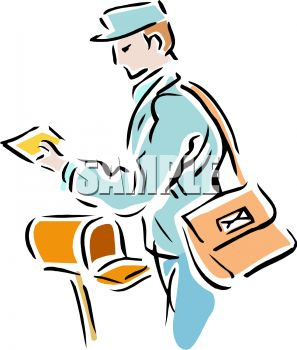297x350 Royalty Free Clip Art Image Mail Carrier Collecting Outgoing Mail