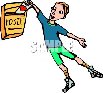 350x317 Cartoon Of A Boy Putting A Valentine In The Mail