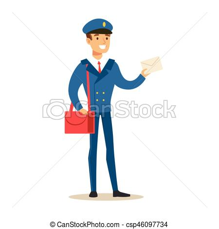 450x470 Postman In Blue Uniform Delivering Mail Holding A Letter