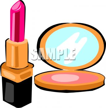 342x350 Picture Of A Tube Of Lipstick And A Makeup Compact In A Vector