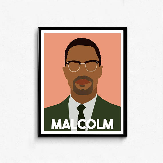 570x570 Malcolm X Minimalist Portrait Icon Remarkable Men Wall Art
