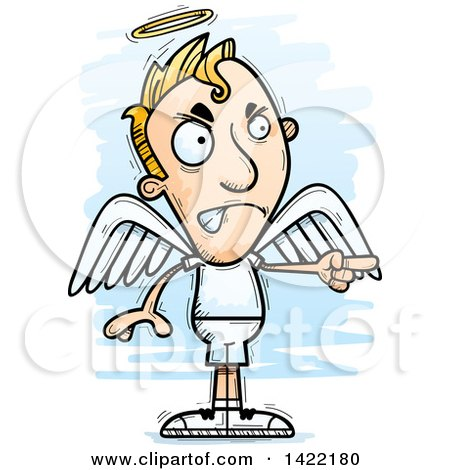 450x470 Clipart Of A Cartoon Doodled Male Angel Angrily Pointing A Finger