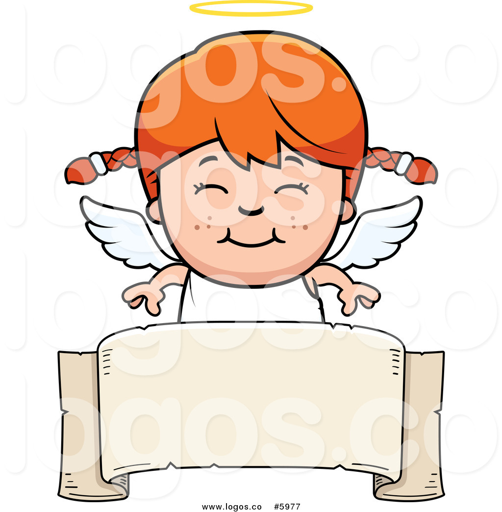 1024x1044 Royalty Free Vector Of A Logo Of A Smiling Red Haired Angel Girl