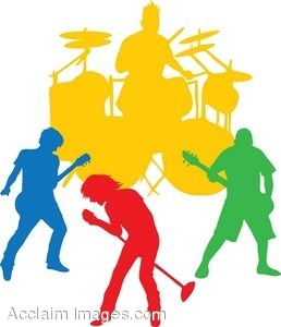 258x300 Clip Art Of The Silhouette Of An All Male Band