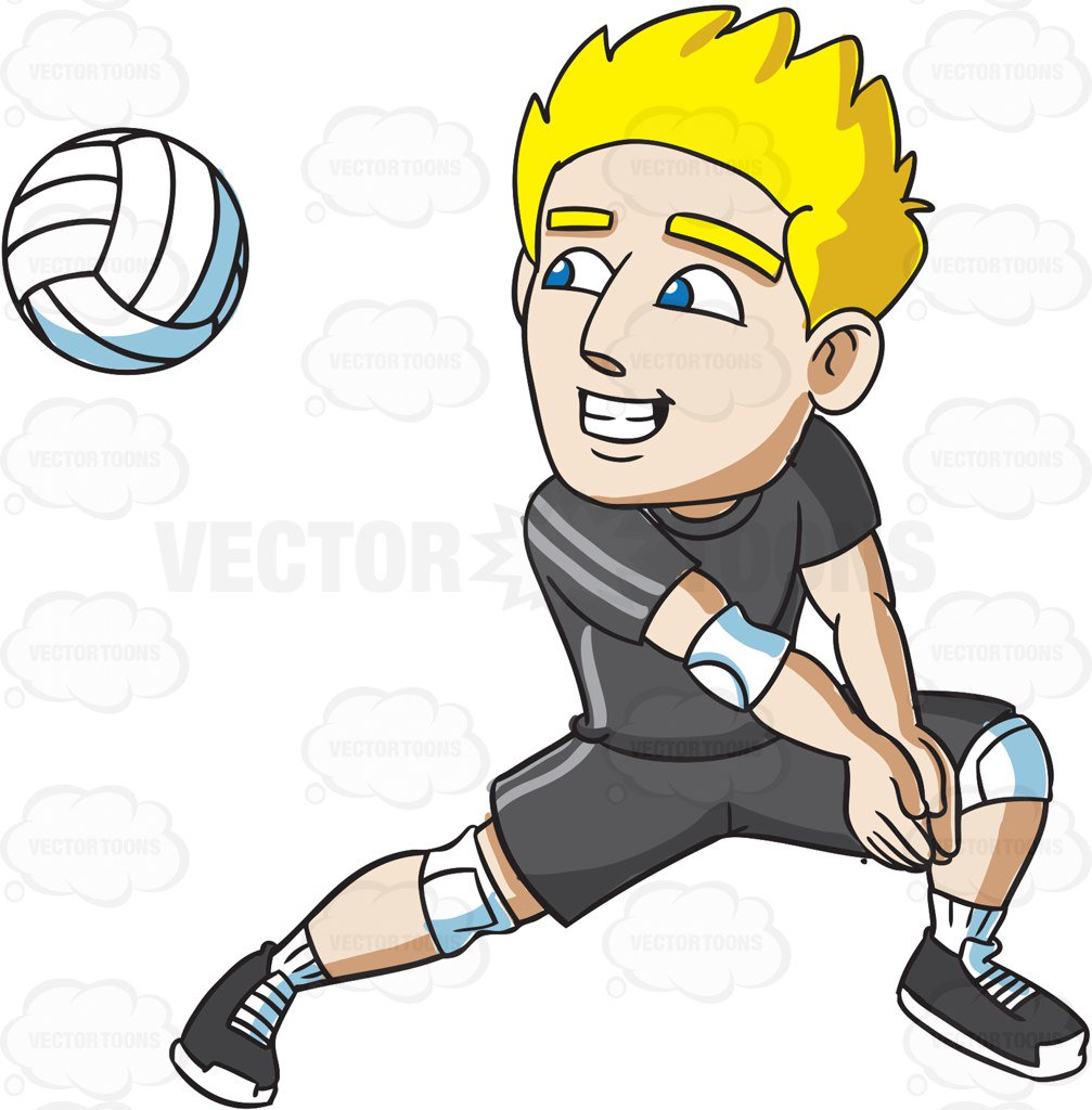 1007x1024 A Male Volleyball Athlete Goes For A Dig Vector Clip Art