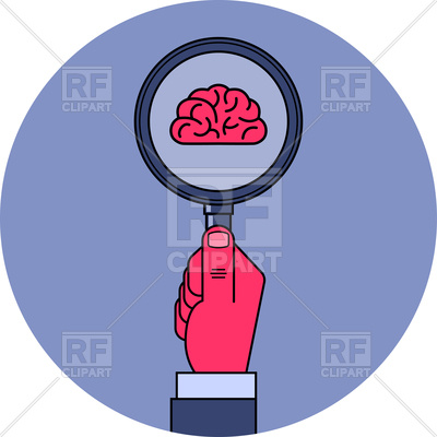 400x400 Brain Study. Male Hand Holding Magnifying Glass With Brain Symbol