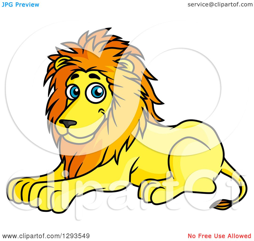 1080x1024 Clipart Of A Cartoon Happy Resting Male Lion