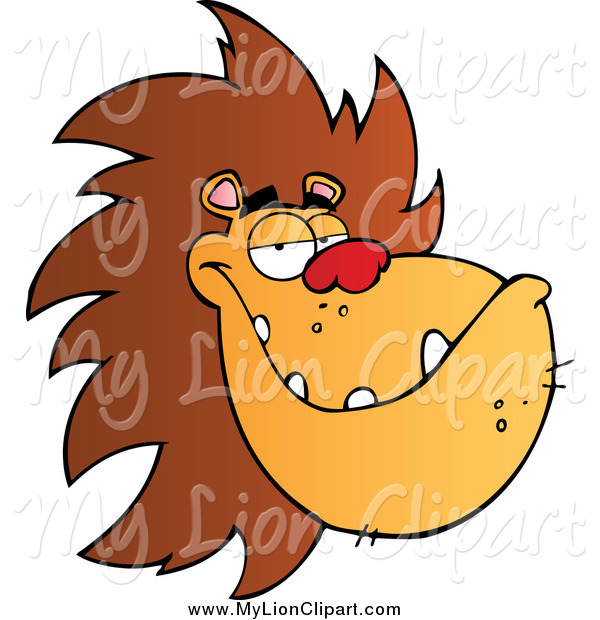 600x620 Clipart Of A Grinning Male Lion's Face By Hit Toon