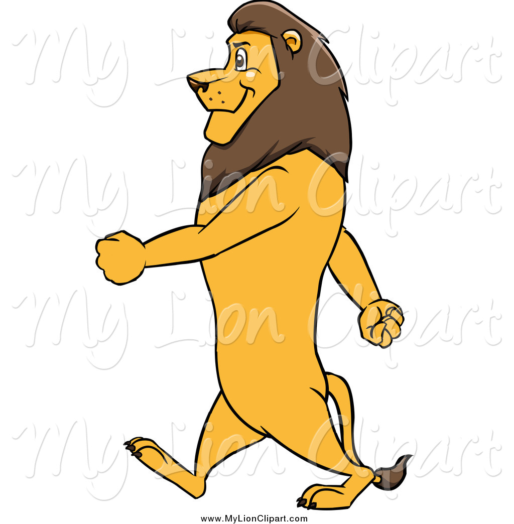 1024x1044 Clipart Of A Male Lion In Profile Walking Upright To The Left By