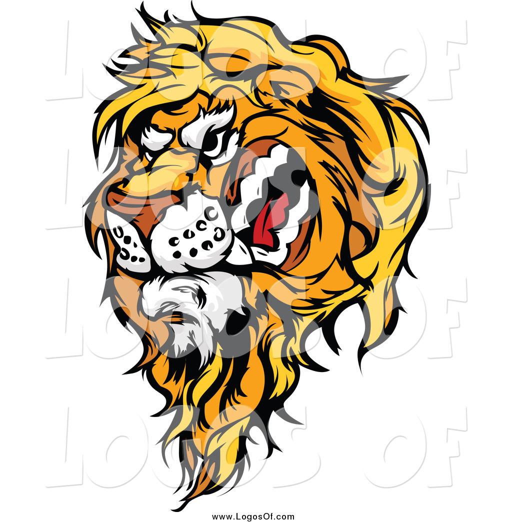 1024x1044 Vector Clipart Of A Snarling Male Lion Logo By Chromaco