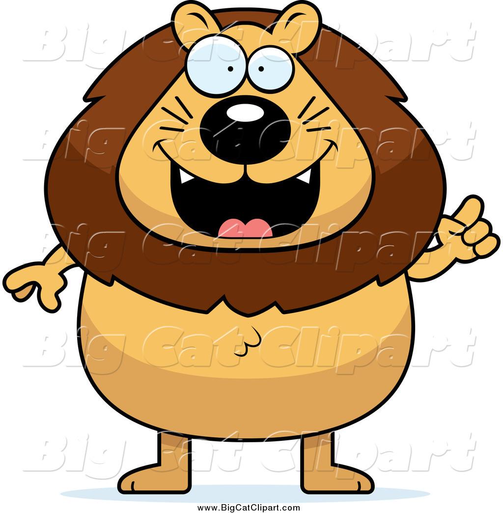 1024x1044 Big Cat Cartoon Vector Clipart Of A Chubby Male Lion With An Idea