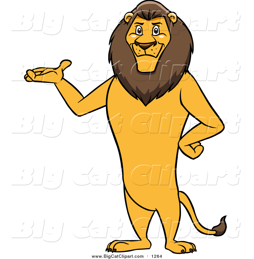 1024x1044 Cartoon Vector Clipart Of A Male Lion Presenting And Standing
