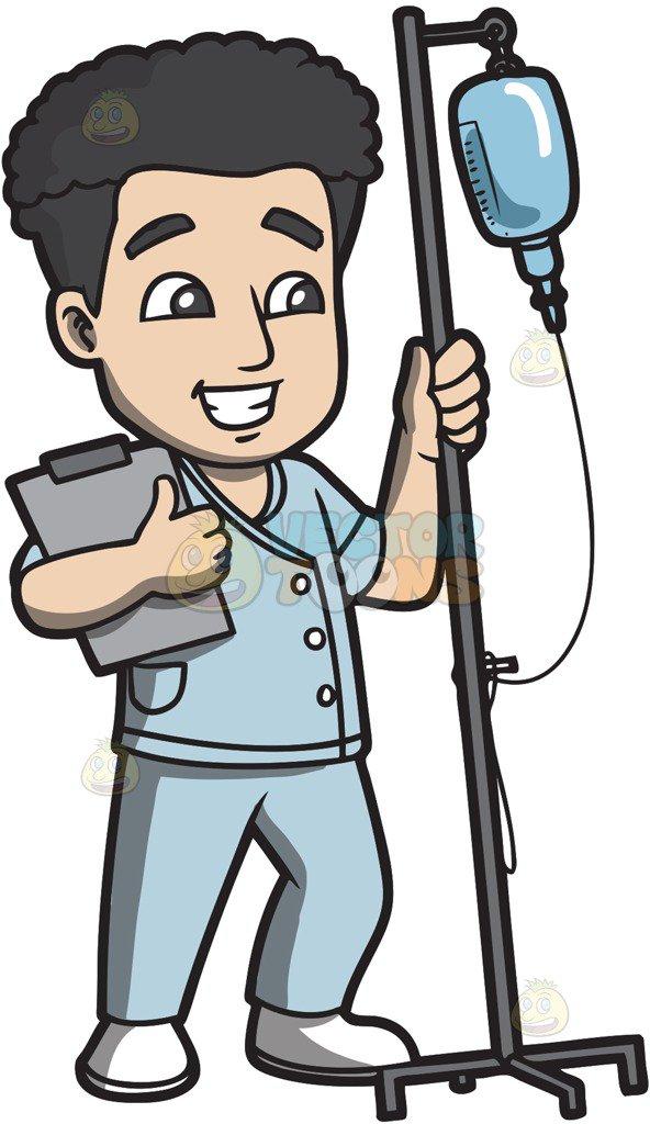 592x1024 A Male Nurse Carrying An Intravenous Fluid To A Patient Cartoon