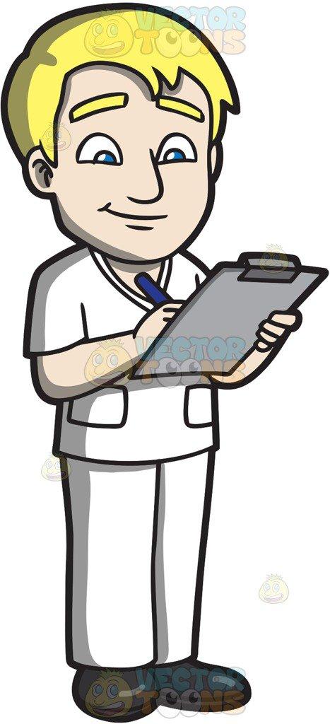 467x1024 A Male Nurse Writing On A Clipboard Cartoon Clipart Vector Toons