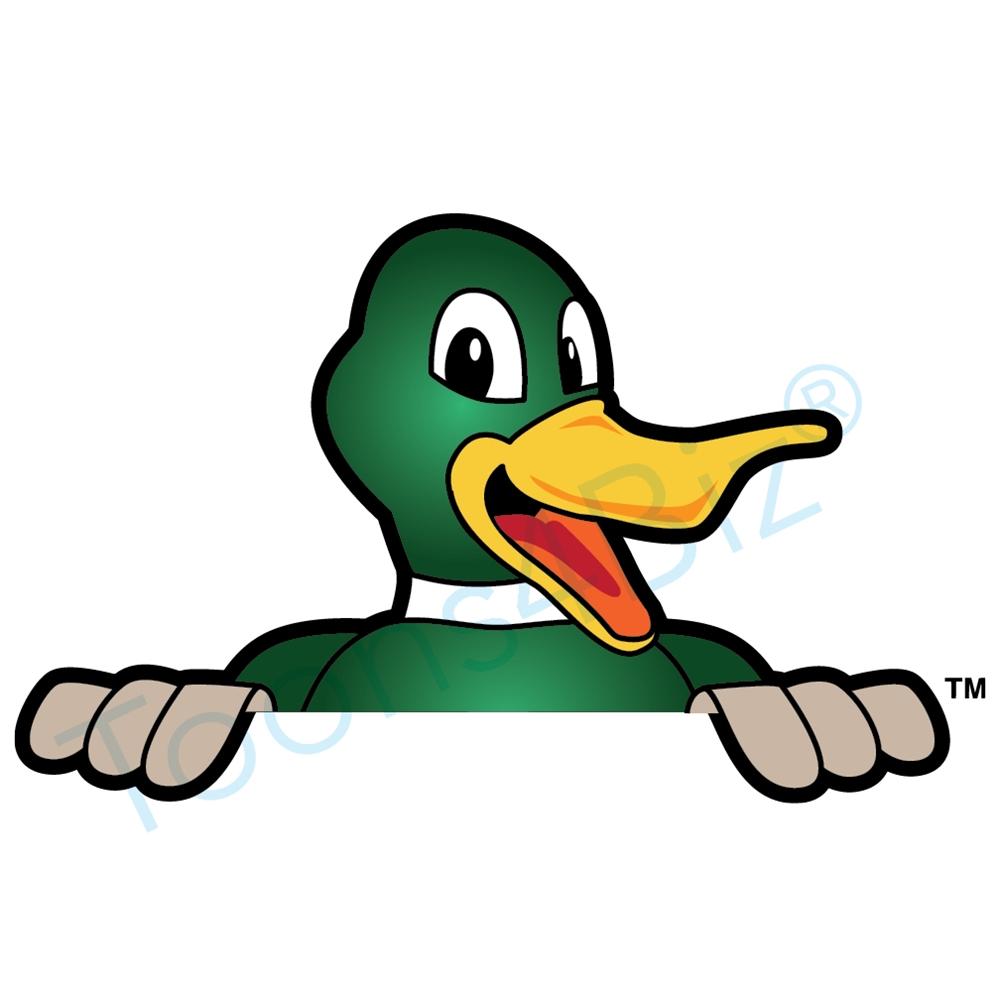 1000x1000 Duck Mascot Peeking Over Clip Art Graphic