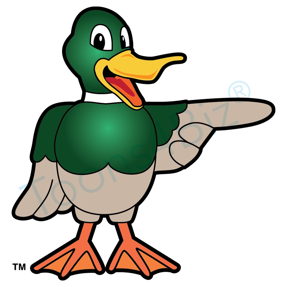 1000x1000 Duck Mascot Pointing To The Side Clip Art