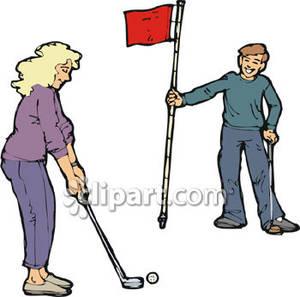 300x297 man woman golf clipart