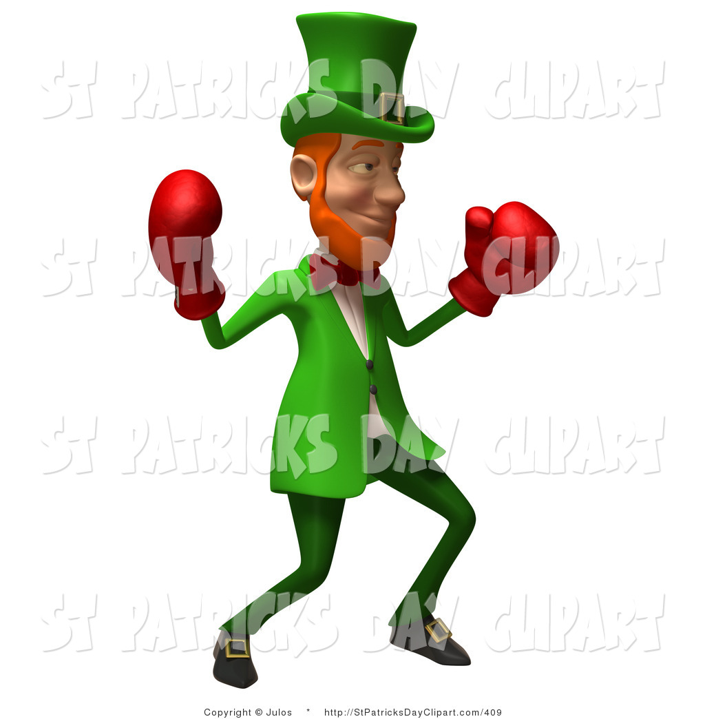 1024x1044 Clip Art Of A Friendly 3d Leprechaun Man Character Boxing With Two