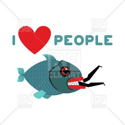 400x400 I Love People. Fish Eats Man. Royalty Free Vector Clip Art Image