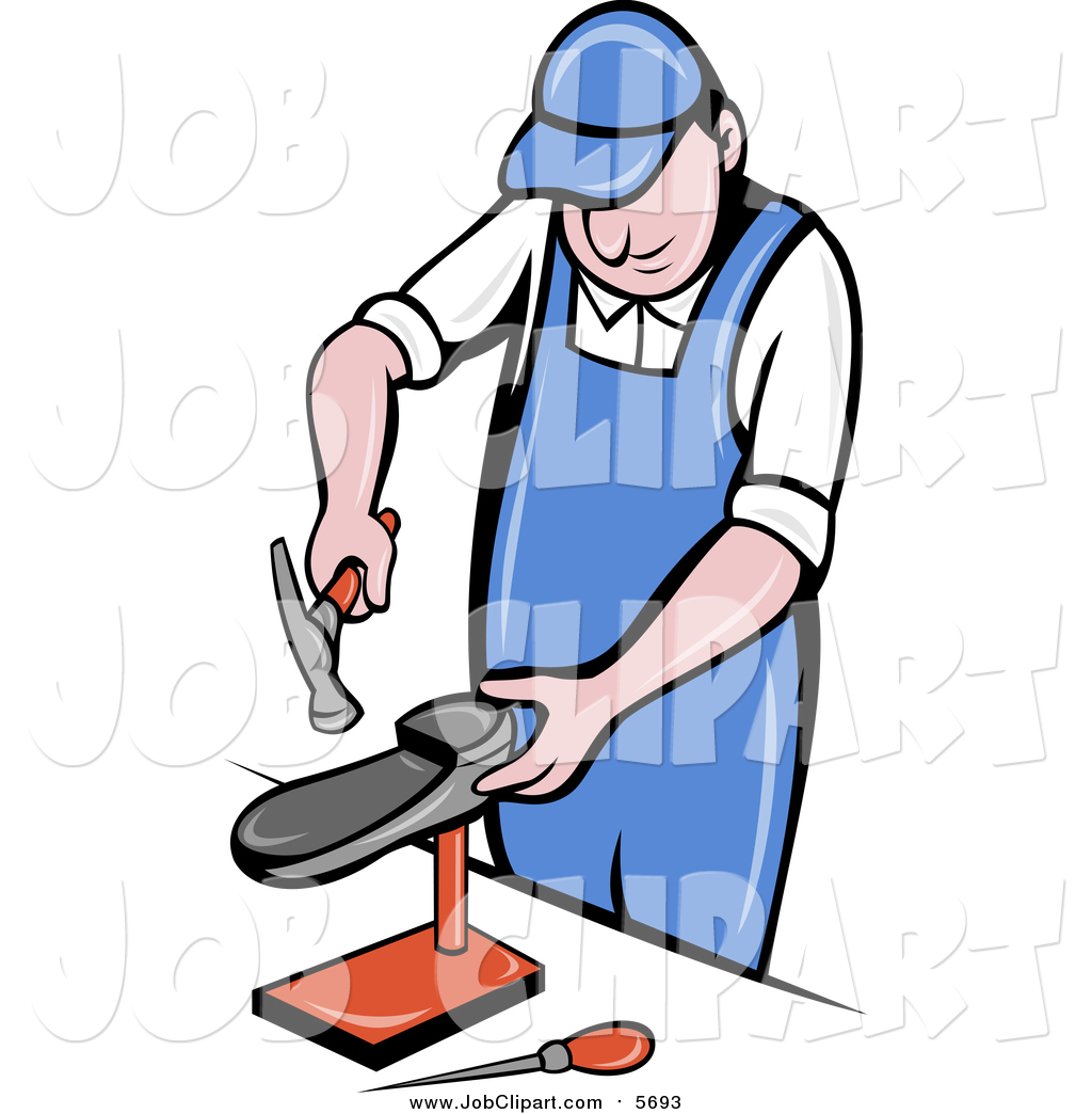 1024x1044 Job Clip Art Of A White Male Shoe Maker Worker Man Hammering By