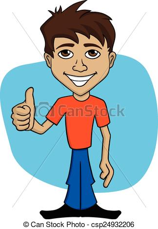 324x470 Cartoon Illustration A Happy Man. Cartoon Illustration