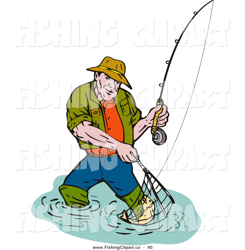 1024x1044 Clip Art Of A Sporty Fishing Man Scooping Up A Fish In A Net By