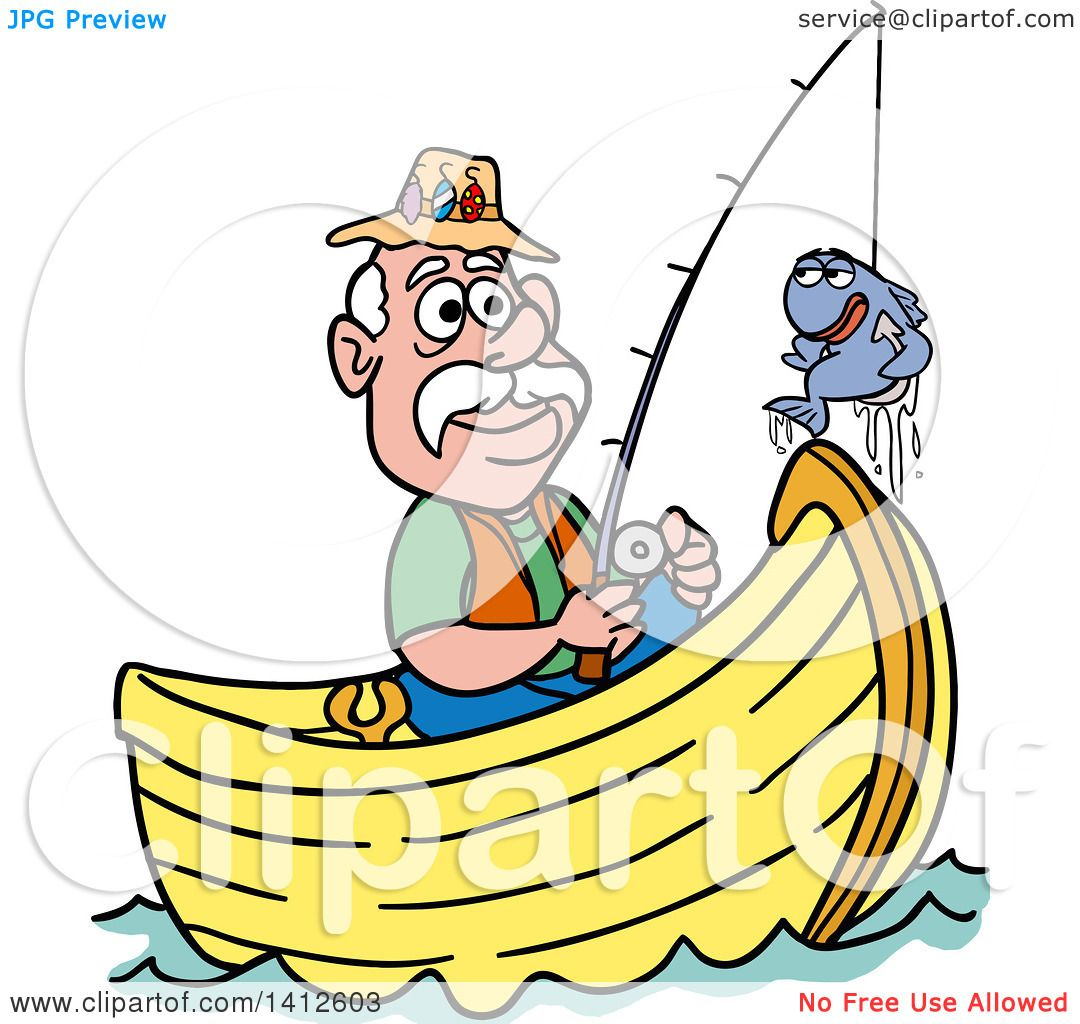 1080x1024 Clipart Of A Cartoon Caucasian Man Fishing In A Boat And Talking