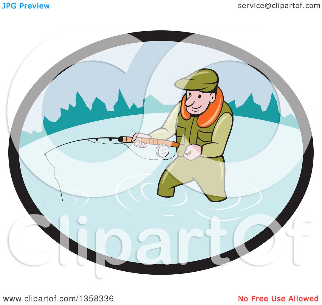 1080x1024 Clipart Of A Cartoon White Man Wading And Fly Fishing In An Oval