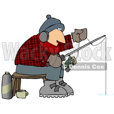 400x400 Cold Man Ice Fishing In The Winter Clipart Picture Djart