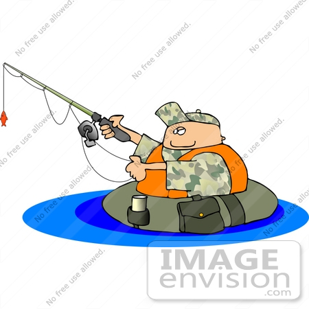 450x450 Man Fishing While Floating In A Tube Clipart