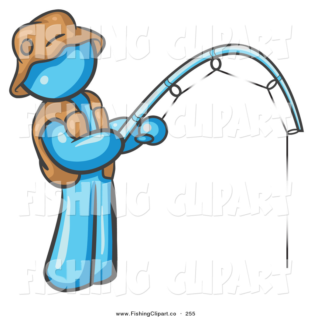 1024x1044 Clip Art Of A Light Blue Fisherman Wearing A Hat Vest