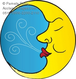 291x300 Clip Art Illustration Of The Man In The Moon Sleeping