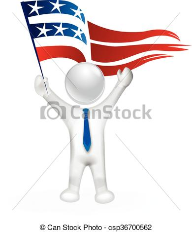 390x470 3d Man With Usa Flag Vector Clip Art Vector