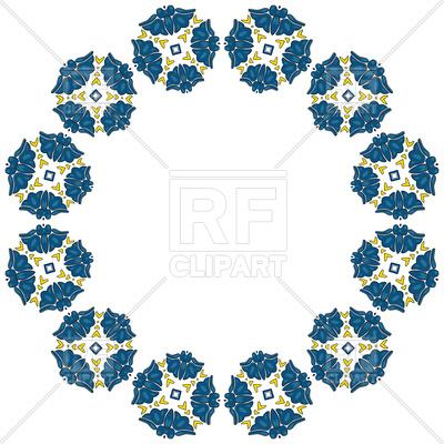 400x400 Decorative Circle Frame With Blue Flower, Mandala Border Royalty