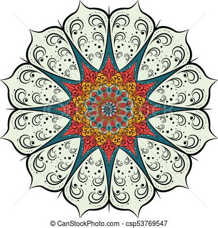 450x470 Decorative Pattern Mandala. Oriental Round Symmetrical Eps