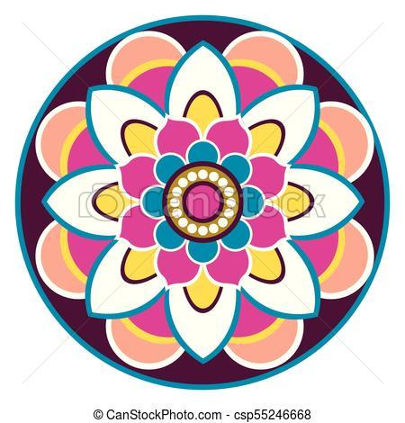 450x470 Isolated Decorative Vintage Mandala. Vector Illustration Clip