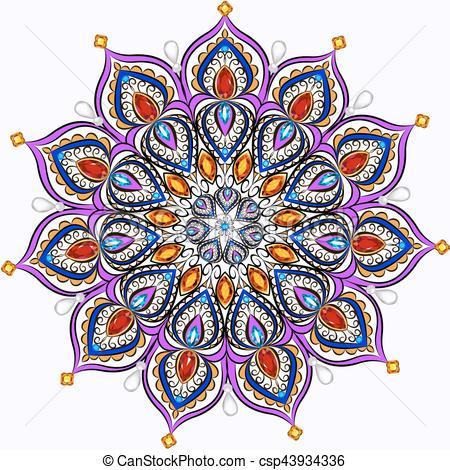 450x470 Mandala Brooch Jewelry, Design Element. Tribal Ethnic Floral