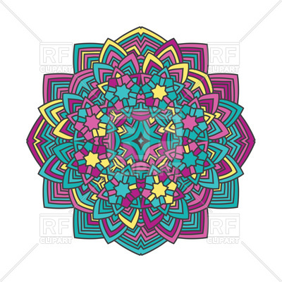 400x400 Abstract Color Flower In Mandala Style Royalty Free Vector Clip